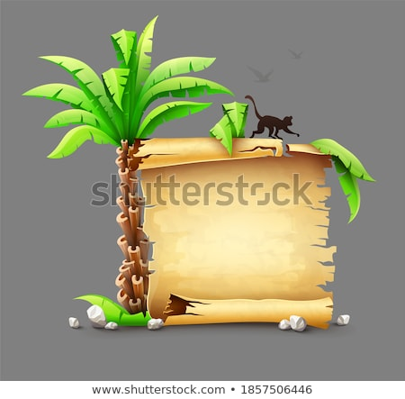travel banner with paper script and tropical island stock photo © loopall