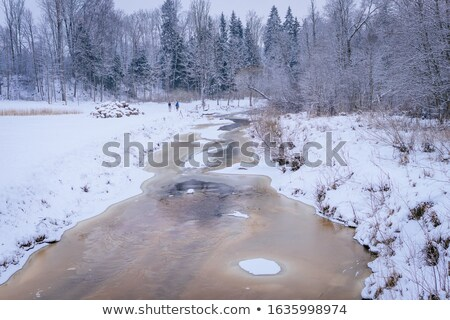 Stockfoto: Streaming · klein · rivier · voorjaar · landschap · sneeuw
