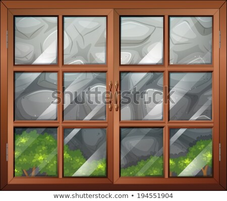A closed window with a view of the plants and the stonewall Stock photo © bluering