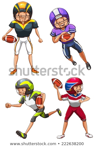 Plain sketches of the American football players Stock photo © bluering