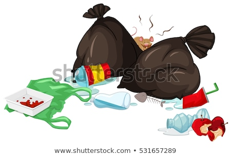 Dirty trash bags and rotten food on the floor Stock photo © bluering