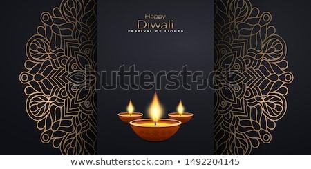 Diwali powitanie tapety dekoracji Świeca lampy Zdjęcia stock © SArts