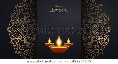 diwali greeting wallpaper with paisley decoration stock photo © SArts
