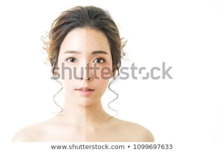 bastante · asiático · modelo · brilhante · make-up · queimadura · de · sol - foto stock © deandrobot