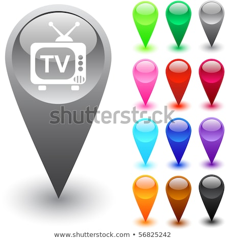 TV  icon glossy brown round button Stock photo © faysalfarhan