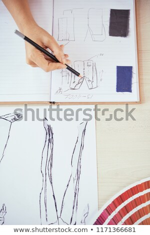 From above shot of woman in atelier Stock photo © dash