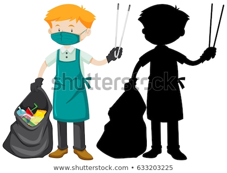 male cleaner holding tongs and garbage bag stock photo © bluering