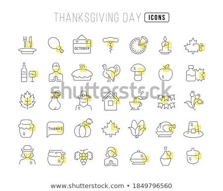 Dankzegging lijn ingesteld iconen web Stockfoto © Voysla