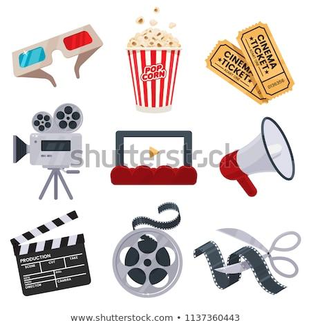 Cine objetos ilustración película azul gafas de sol Foto stock © adrenalina