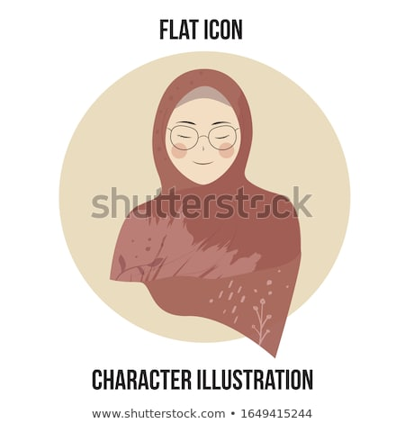 beautiful muslim woman in hijab closing her eyes vector flat ico stock photo © nikodzhi