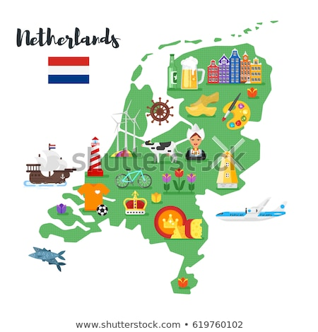 vector flat style set of netherlands national cultural symbols stock photo © curiosity