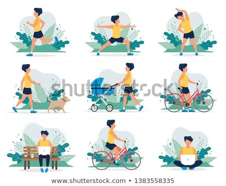 Vector flat style illustration of family doing yoga with dog. Stock photo © curiosity