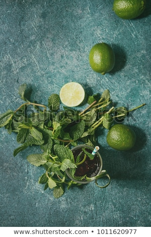 Alcohol cocktail on turquoise background Stock photo © dashapetrenko