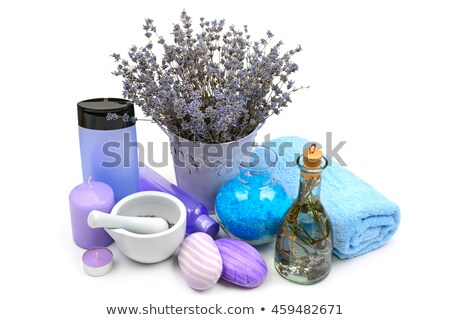 Lavender Gels, shampoos, salt and scented candles isolated on wh Stock photo © alinamd