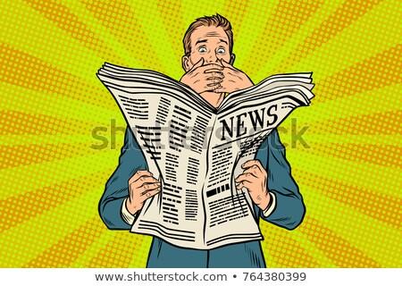 Ijesztő rossz hírek újság olvasó válasz pop art Stock fotó © studiostoks