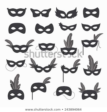 icon Mardi Gras Mask black and white Stock photo © Olena