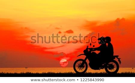 портрет · улыбаясь · верховая · езда · мотоцикле · вместе - Сток-фото © is2