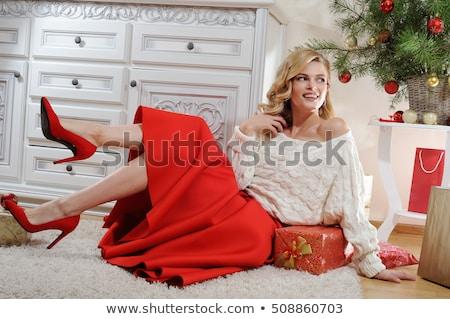Mutlu gülen genç kadın kırmızı hırka moda Stok fotoğraf © dolgachov