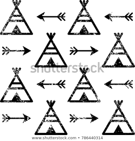 Teepee and arrows seamless vector pattern, Aztec style Indian repetitive design, Native American wal Stock photo © RedKoala