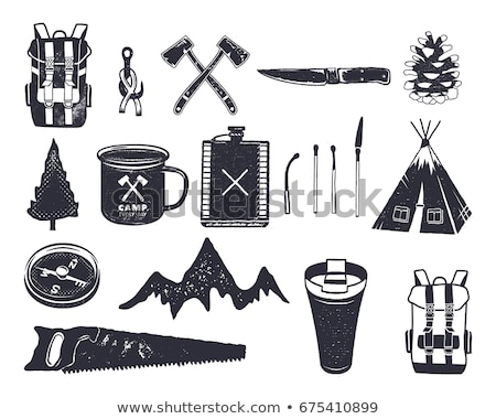 vintage hand drawn knife shape in monochrome adventure icon pictogram camping hipster survival st stock photo © jeksongraphics
