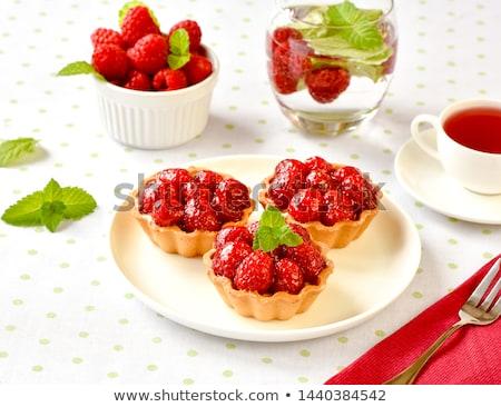 Stockfoto: Heerlijk · framboos · taart · dessert · room