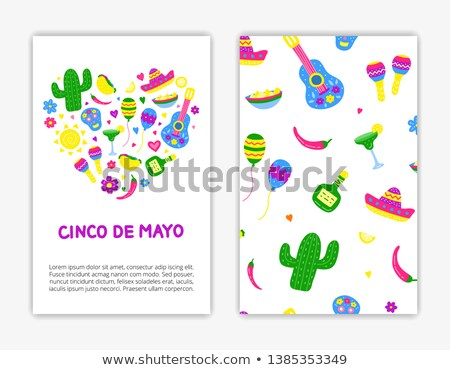 Cinco de mayo card template with mask and maracas Stock photo © bluering