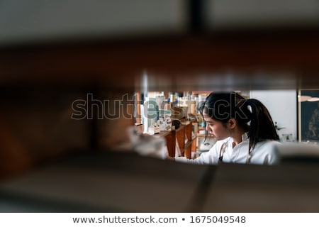 Woman arranging knitting and needles Stock photo © IS2