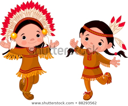 Two girls in Native American costumes Stock photo © IS2