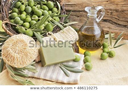 Feito à mão grego oliva sabão rústico Foto stock © Lana_M