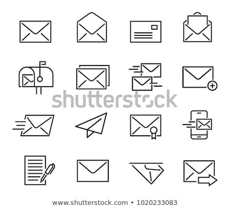 электронная · почта · открытых · конверт · икона · линия · стиль - Сток-фото © taufik_al_amin