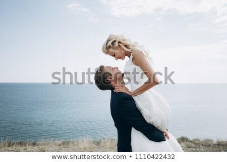Stockfoto: Bruid · trouwjurk · glimlachend · Boedapest · Hongarije · binnenshuis