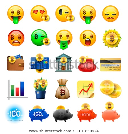 Bitcoin smiley emoji, emoticon smiling face, vector illustration. Stock photo © ikopylov