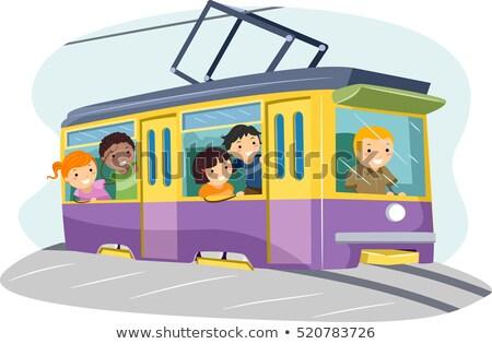 Ninos tranvía ilustración grupo equitación Foto stock © lenm