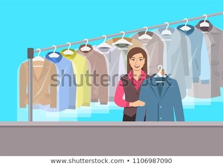 Jong meisje receptie drogen schoonmaken winkel interieur Stockfoto © vectorikart