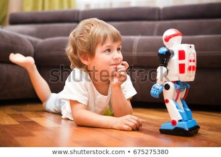 Criança menino remoto robô brinquedo ilustração Foto stock © lenm