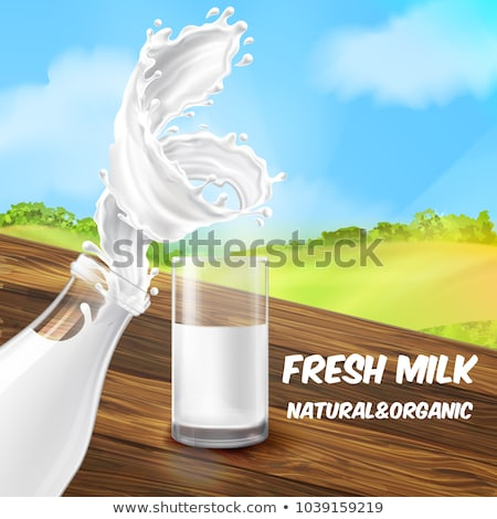 Milk Glass Splash Banner ad Vector Background Illustration stock photo © SaqibStudio