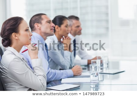 ストックフォト: 深刻 · 小さな · アジア · 女性実業家 · メモを取る · 座って
