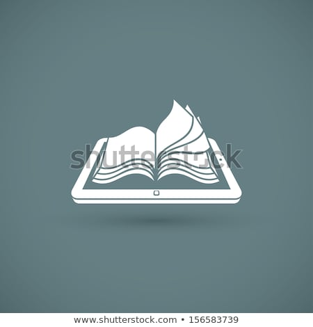 Zdjęcia stock: Digital Library Concept - Tablet And Open Book On Screen