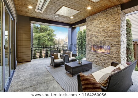 роскошь современных палуба внешний каменные камин Сток-фото © iriana88w