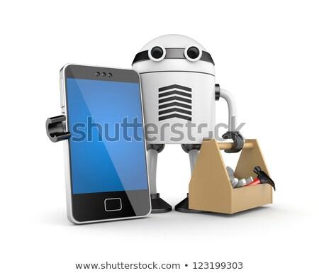 robot repairing smartphone with screwdriver stock photo © andreypopov