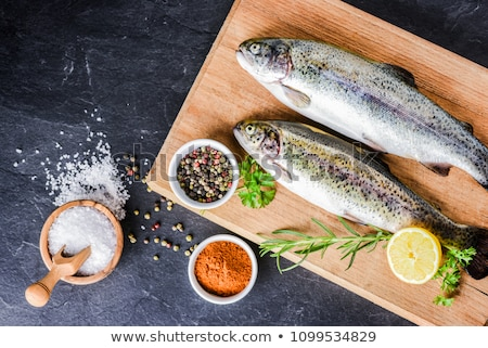 fresh trout with lemon on board stock photo © dash