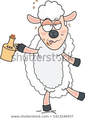 Sarhoş karikatür koyun örnek bakıyor Stok fotoğraf © cthoman