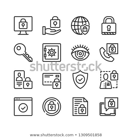 Cyber security, data protection, hacker and malware line icons Stock photo © soleilc