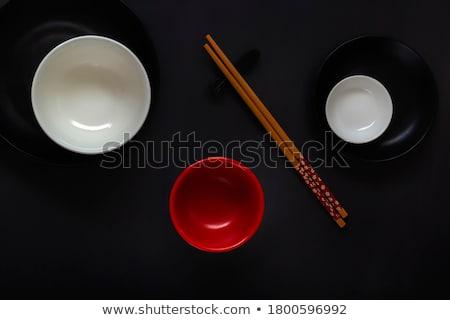 ázsiai keleti konyha színes edények felszolgált sötét Stock fotó © dash