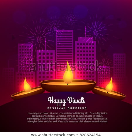 traditional diwali fireworks and diya design Stock photo © SArts