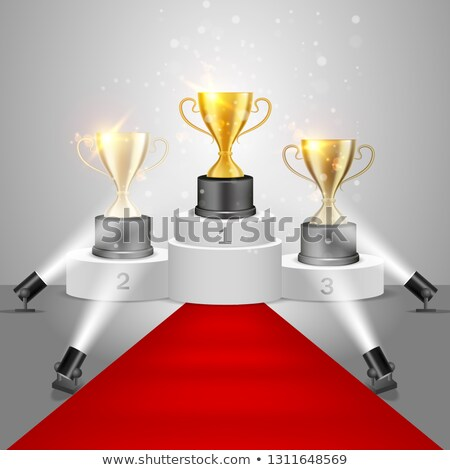 Prata troféu copo pódio tapete vermelho 3D Foto stock © djmilic
