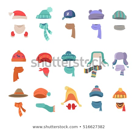 Winter Cap Set Vector. Cold Weather Headwear. Hats, Caps. Apparel Clothes For Autumn. Isolated Carto Stock photo © pikepicture
