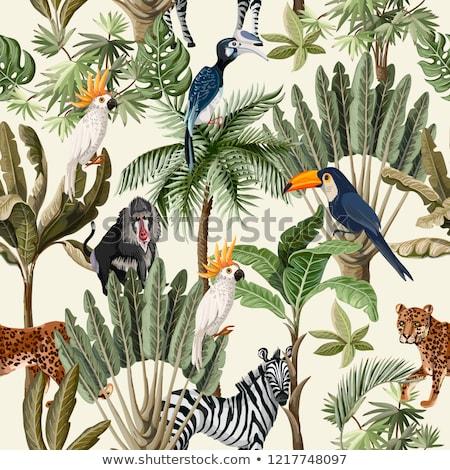Naadloos ontwerp wilde dieren illustratie achtergrond kunst Stockfoto © colematt