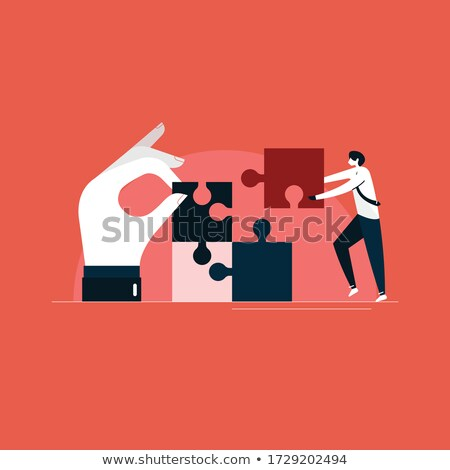 Businessmen joining puzzle pieces together Stock photo © Minervastock