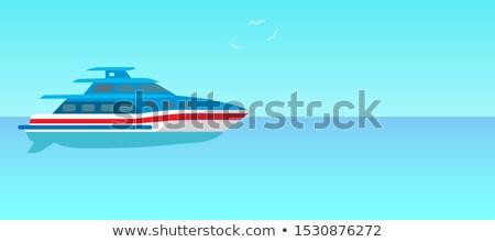 Dwa pokład motorówka reklama plakat oferowanie Zdjęcia stock © robuart